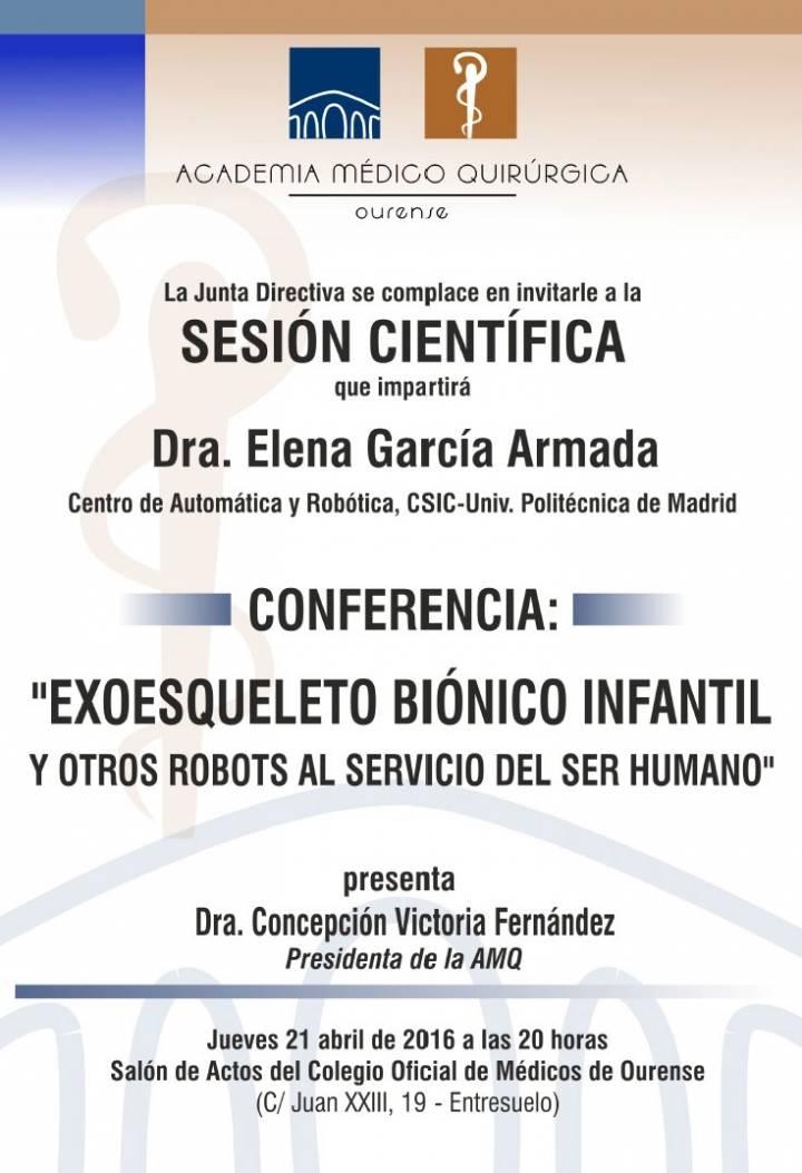Sesión AMQ:  EXOESQUELETO BIÓNICO INFANTIL Y OTROS ROBOTS AL SERVICIO DEL SER HUMANO