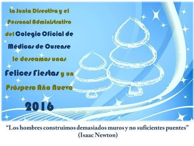 El Colegio Oficial de Médicos de Ourense le desea Felices Fiestas