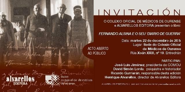 Presentación en Ourense do libro FERNANDO ALSINA E O SEU DIARIO DE GUERRA