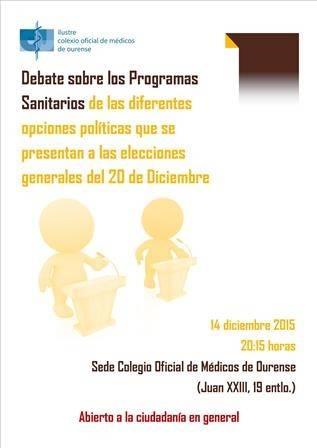 Debate sobre los Programas Sanitarios de las diferentes opciones políticas que se presentan a las elecciones generales del 20 de Diciembre