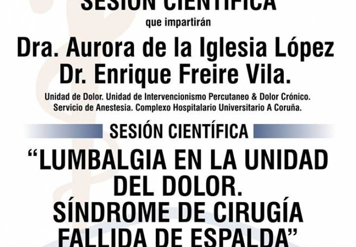 """Sesión AMQ: """"Lumbalgia en la unidad del dolor. Síndrome de cirugía fallida de espalda"""""""