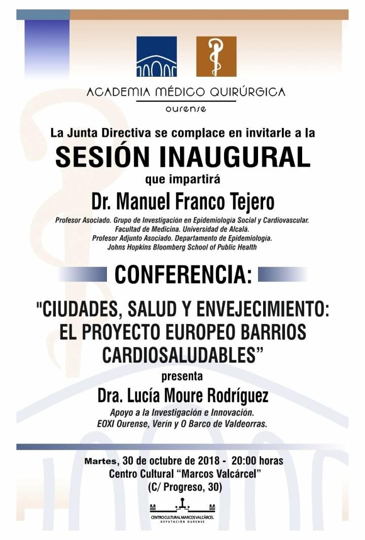 """Sesión Inaugural AMQ: """"Ciudades, Salud y Envejecimiento: el proyecto europeo barrios cardiosaludables"""""""
