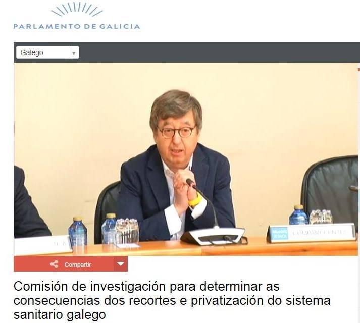 """COMPARECENCIA  EN LA """"COMISIÓN INVESTIGACIÓN DE SANIDAD""""  EN EL PARLAMENTO GALEGO DE LA PRESIDENCIA DEL CONSELLO DE COLEXIOS MÉDICOS DE GALICIA"""