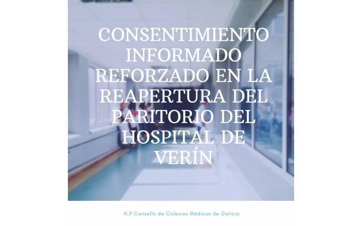 NOTA DE PRENSA CONSELLO GALEGO DE COLEXIOS MÉDICOS. CONSENTIMENTO INFORMADO REFORZADO NA REAPERTURA DO PARITORIO DO HOSPITAL DE VERÍN