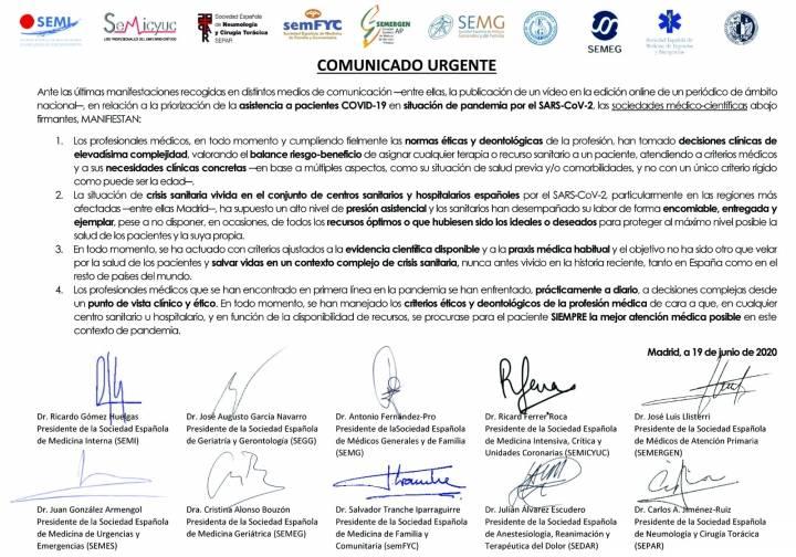 Comunicado de 10 sociedades médicas sobre la priorización de asistencia a pacientes COVID-19