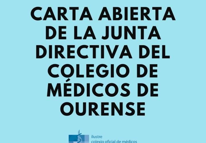 Carta abierta de la Junta Directiva del Colegio de Médicos de Ourense