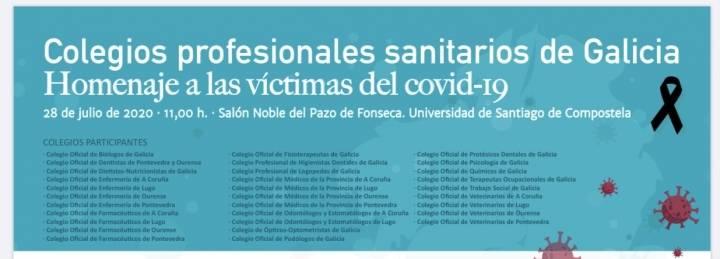 Acto de homenaje de los colegios profesionales sanitarios de Galicia a las víctimas del COVID-19