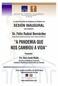 """Sesión Inaugural AMQ: Webinar """"A PANDEMIA QUE NOS CAMBIOU A VIDA"""""""