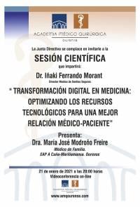 """Sesión AMQ: Webinar """" TRANSFORMACION DIGITAL EN MEDICINA:OPTIMIZANDO LOS RECURSOS TECNOLOGICOS PARA UNA MEJOR RELACION MEDICO-PACIENTE"""""""