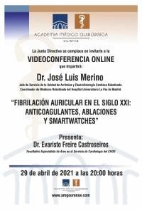 """Sesión AMQ: Webinar """"FIBRILACIÓN AURICULAR EN EL SIGLOXXI: ANTICOAGULANTES, ABLACIONES Y SMARTWATCHES"""""""
