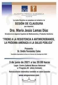 """Sesión de Clausura AMQ: Webinar """"FRENO A LA RESISTENCIA A ANTIMICROBIANOS, LA PROXIMA AMENAZA A LA SALUD PUBLICA"""""""