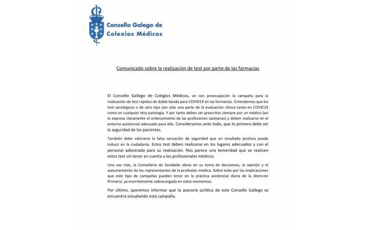 Comunicado sobre la realización de test por parte de las farmacias. Consello de Colegios Médicos de Galicia