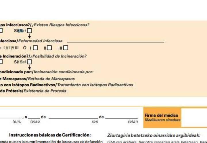 Aclaraciones para la cumplimentación del nuevo certificado de defunción