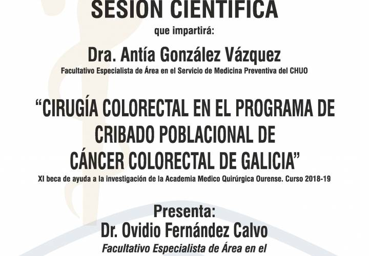 "Sesión AMQ: Webinar ""CIRUGIA COLORECTAL EN EL PROGRAMA DE CRIBADO POBLACIONAL DE CANCER COLORECTAL DE GALICIA."""""