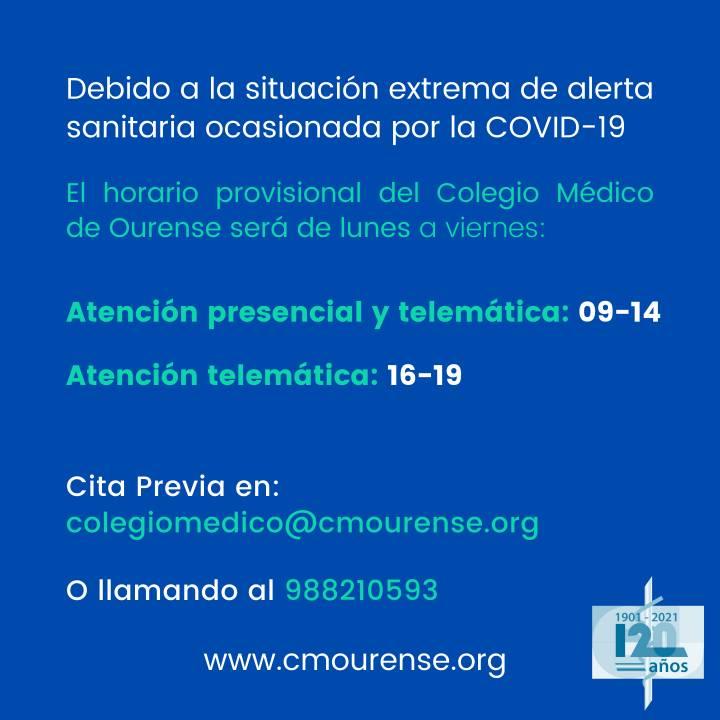 Horario provisional Oficina Colegio Médico Ourense, en adaptación a situación Pandemia COVID19