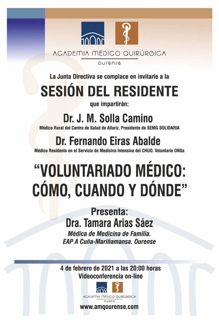 """Sesión AMQ:  Webinar: """"SESIÓN DEL RESIDENTE :""""VOLUNTARIADO MÉDICO: CÓMO, CUÁNDO Y DÓNDE."""""""