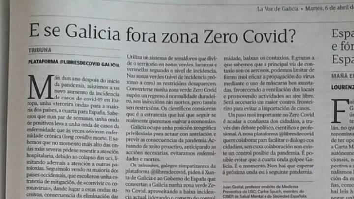 Por una estrategia tipo Zero Covid para la pandemia de COVID-19 en Galicia